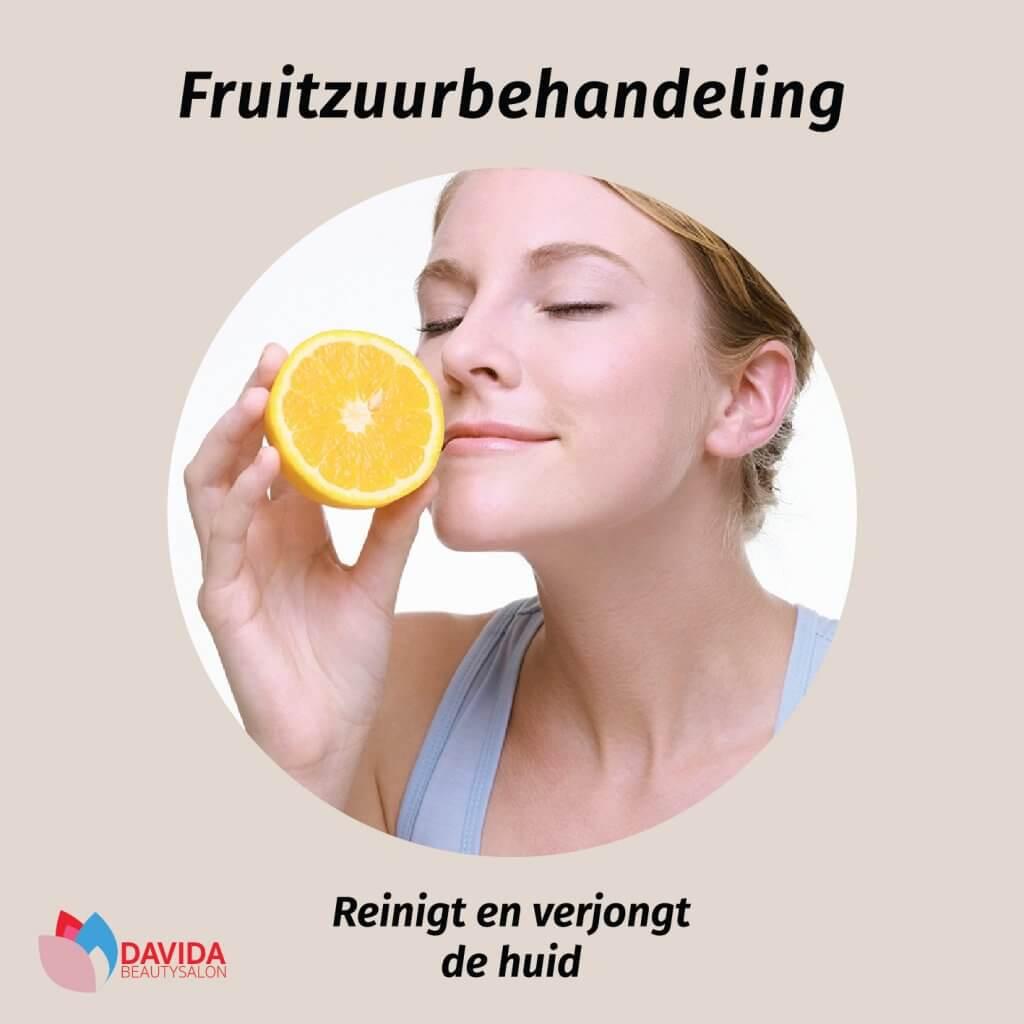 fruitzuur behandeling, reinigt en verjongt de huid